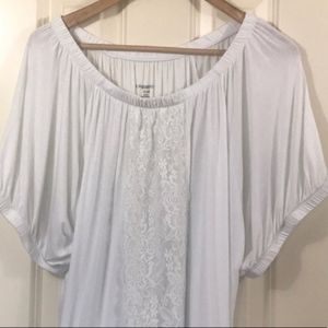 Lane Bryant white tee with lace accent
